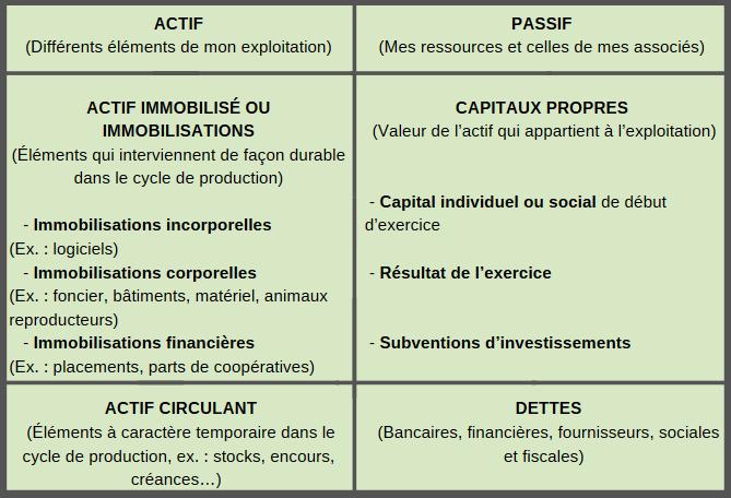 Tableau représentant le bilan comptable avec le contenu des colonnes Actif et Passif