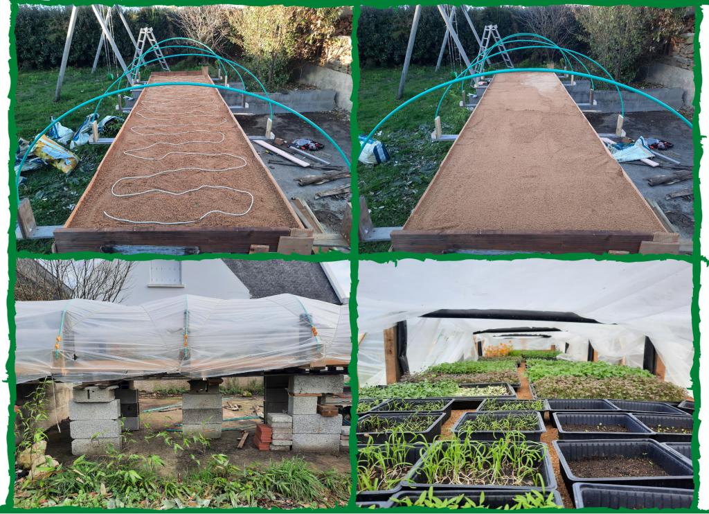 Autoconstruction Fabrication d'une table avec câble nappe chauffante à semis en extérieur